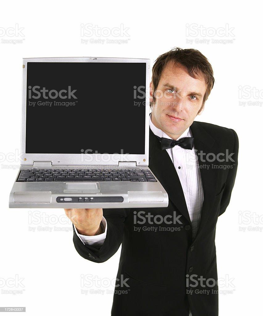 Waiter presenting laptop royalty-free stock photo