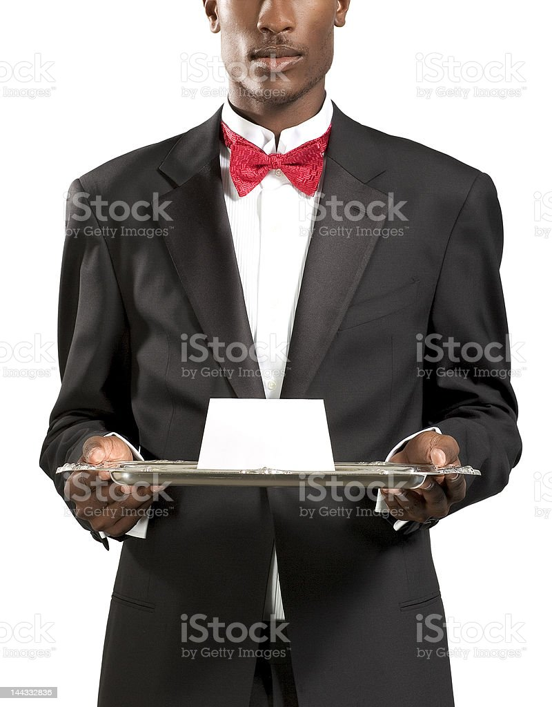 Waiter Red Bow Tie royalty-free stock photo