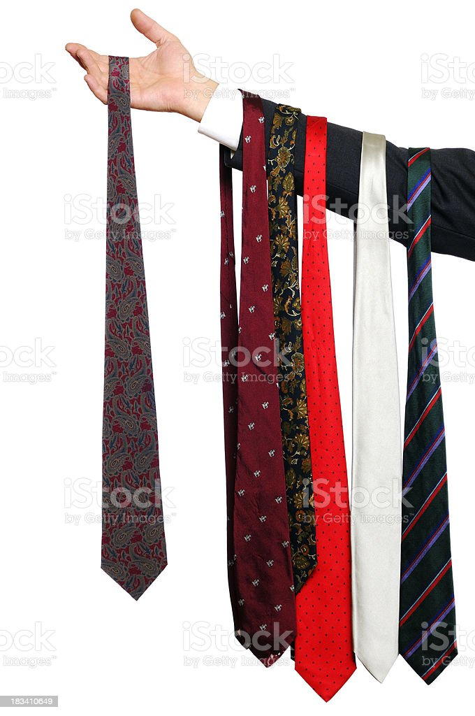 Waiter Showing Businessman's ties royalty-free stock photo