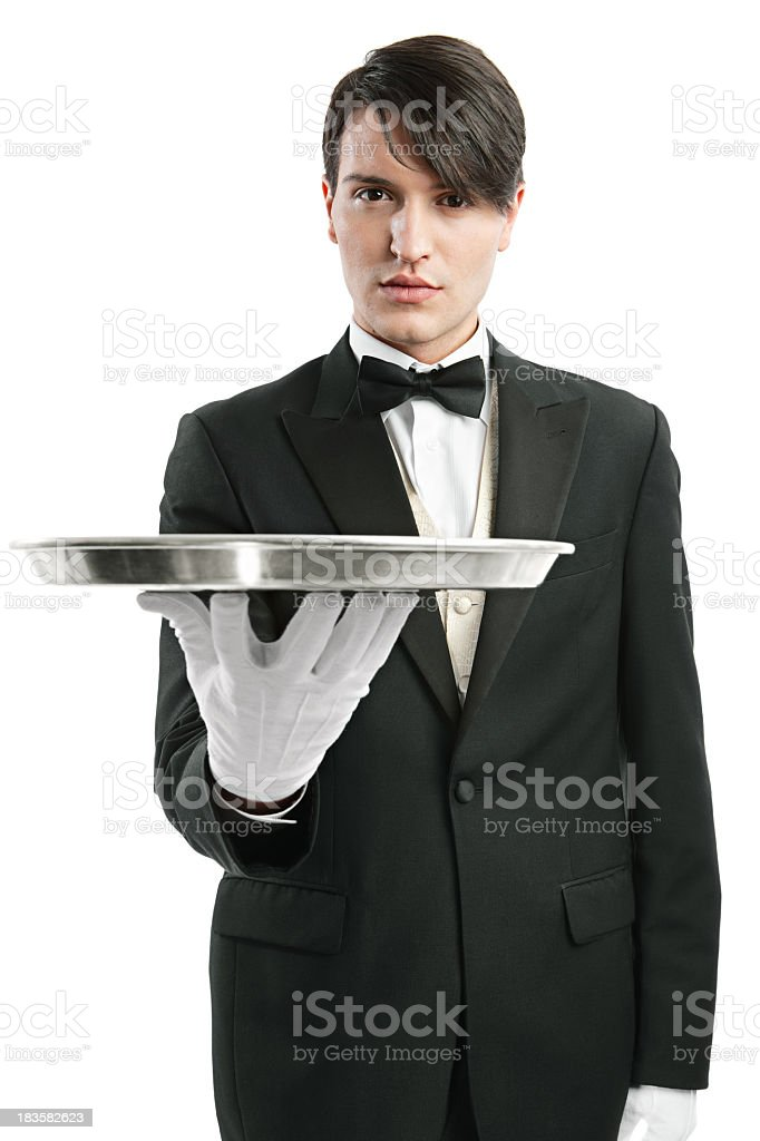 Waiter with an empty tray royalty-free stock photo