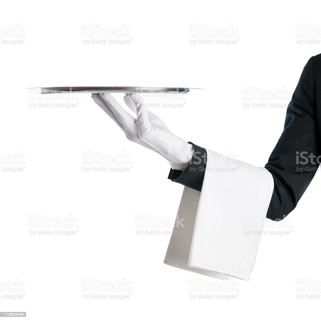 Waiter with tray royalty-free stock photo