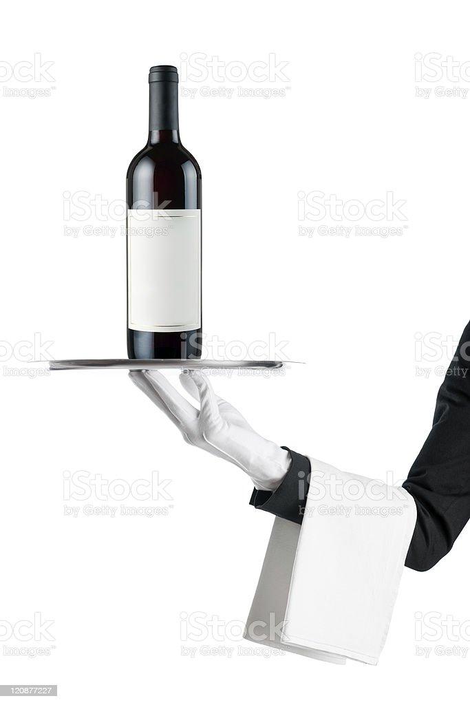Waiter with wine bottle royalty-free stock photo