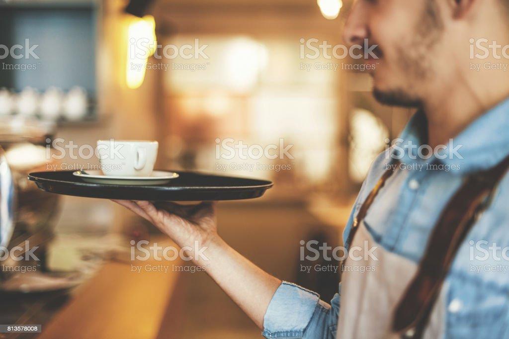 Waiter working stock photo