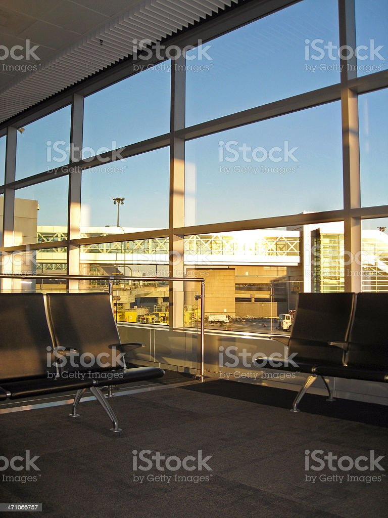 Waiting Area By Airport Gate stock photo