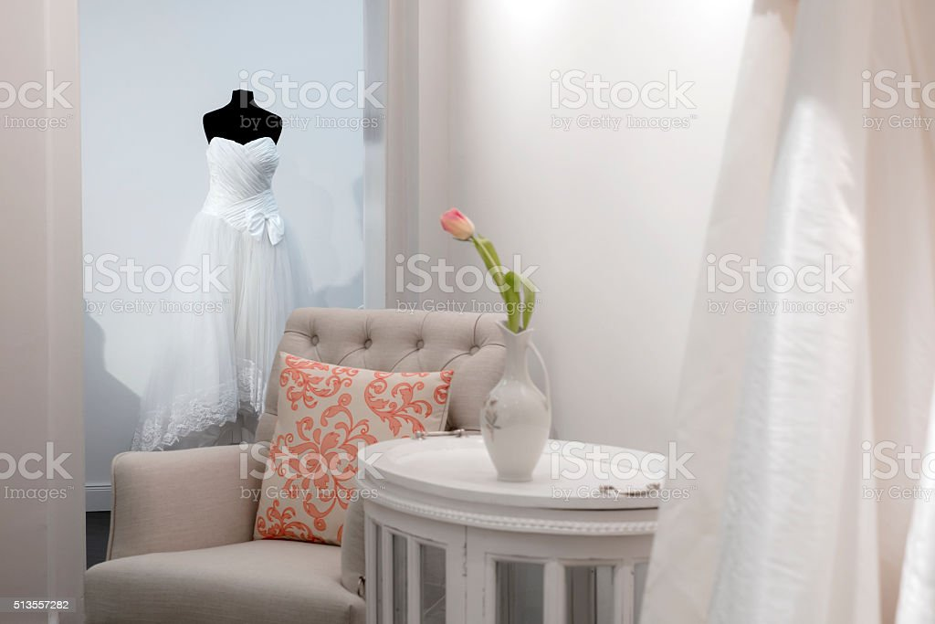 waiting area in bridal store with seat stock photo