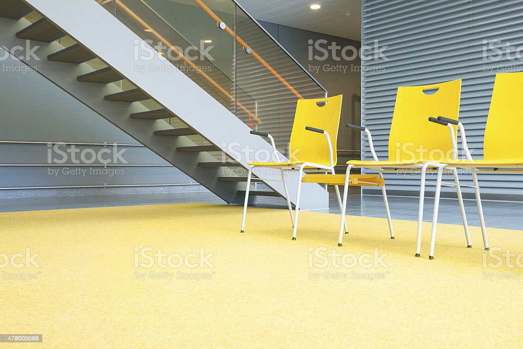 Waiting Area With Chairs and Stairs royalty-free stock photo
