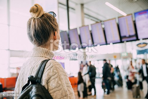 A young woman in Amsterdam waiting at the airport.