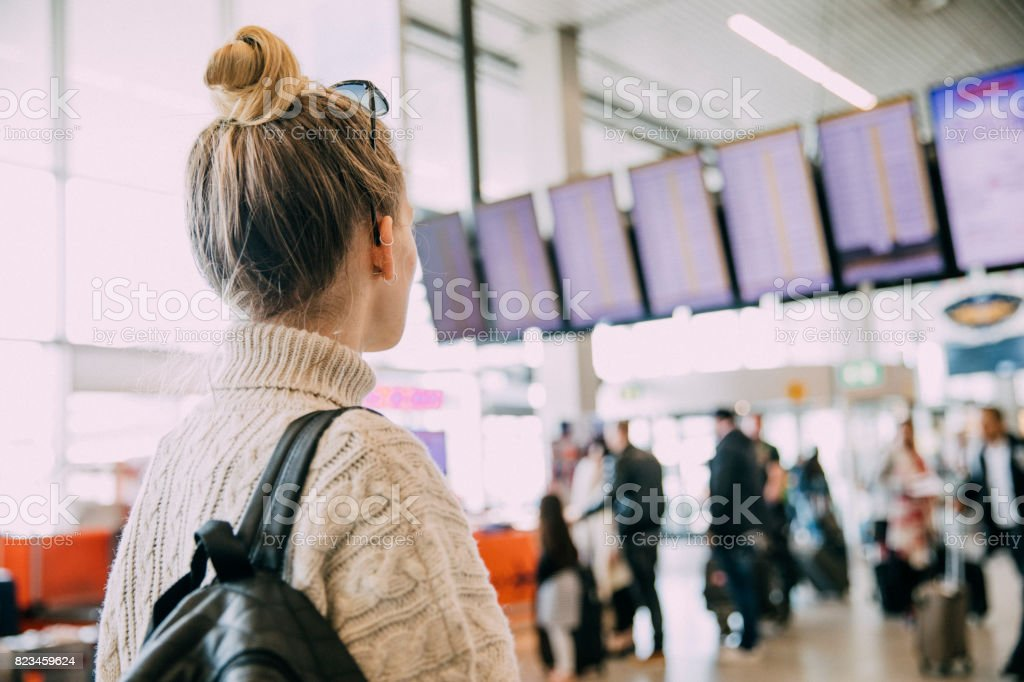 Waiting At The Airport In Amsterdam stock photo