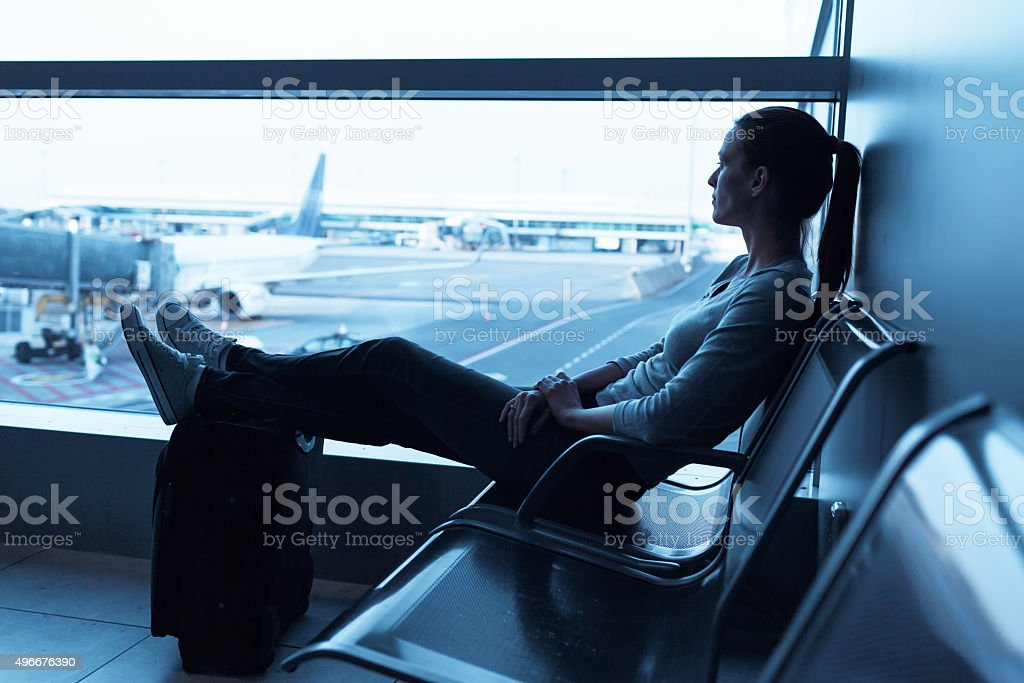 Waiting at the airport stock photo