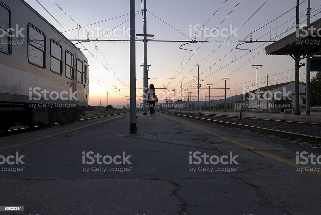 Waiting at the train station royalty-free stock photo