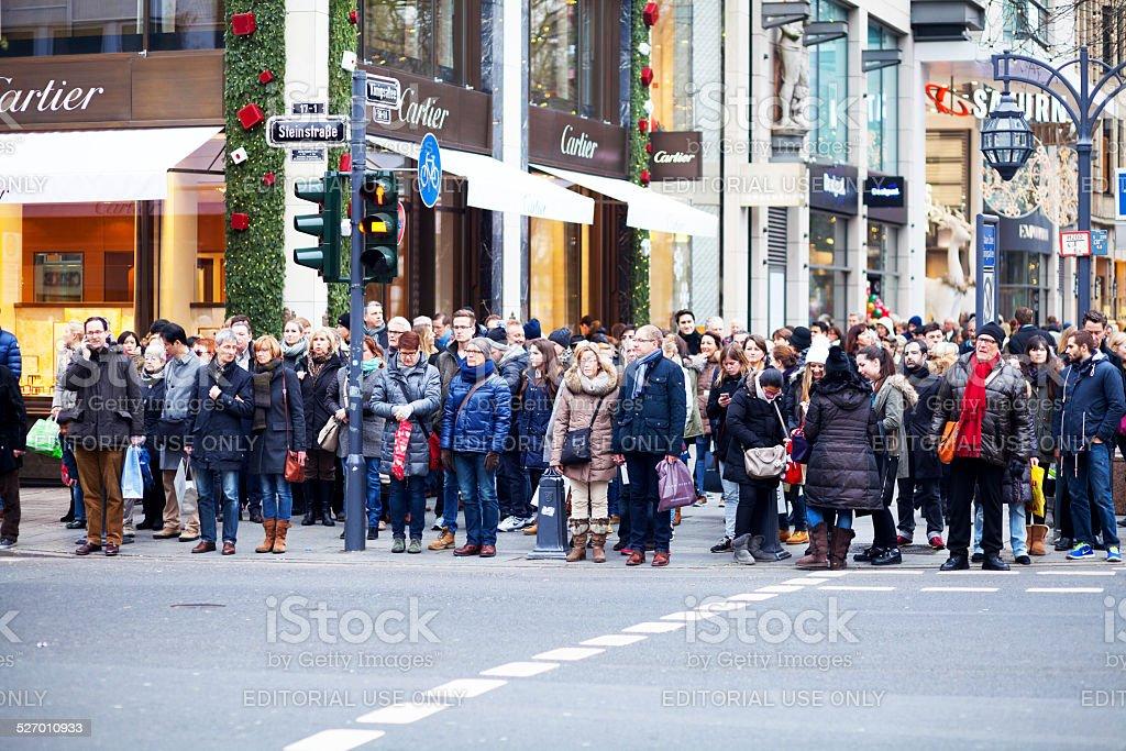 Waiting at traffic light on Kö in Düsseldorf stock photo