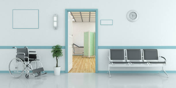 waiting bench outside of examination room - doctors office stock pictures, royalty-free photos & images