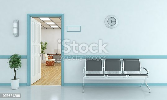 Waiting bench outside of the room. ( 3d render)
