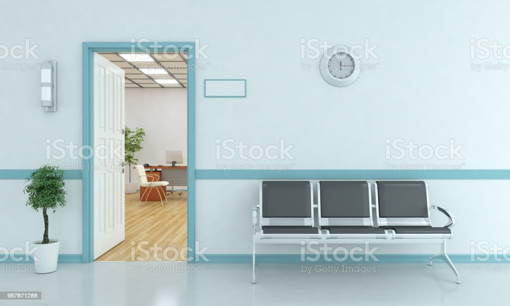 Waiting Bench Outside Of Room stock photo