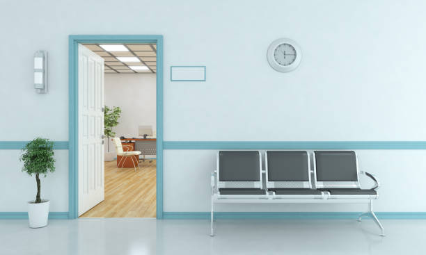 waiting bench outside of room - clinica medica foto e immagini stock
