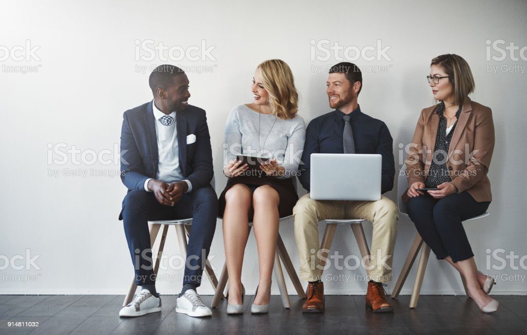 Waiting can be strenuous, start conversations stock photo