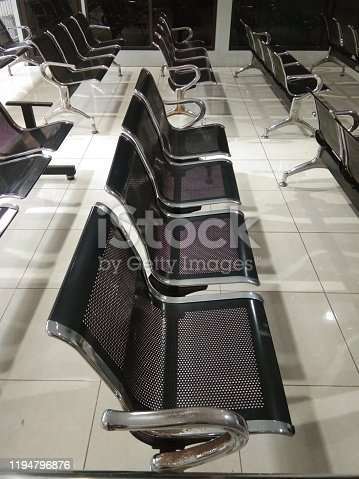 Waiting chair with backrest, with iron material