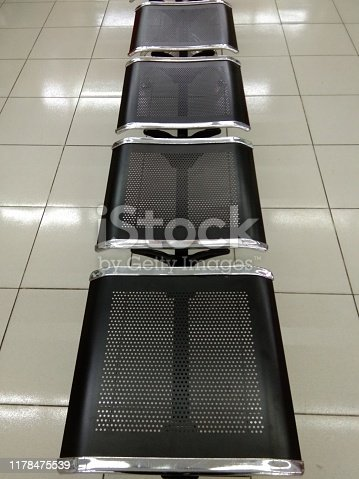 Waiting chair without backrest, with iron material