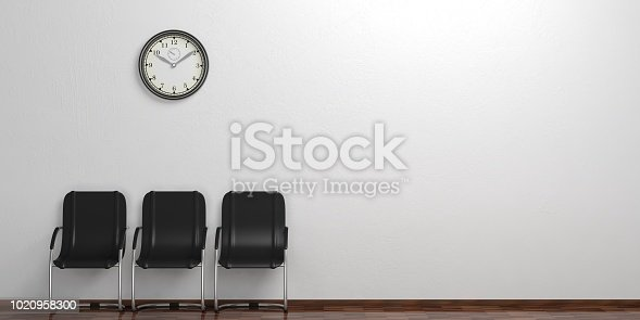 istock Waiting chairs on a wooden floor. 3d illustration 1020958300