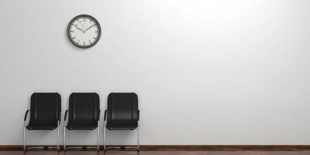 Waiting chairs on a wooden floor. 3d illustration stock photo