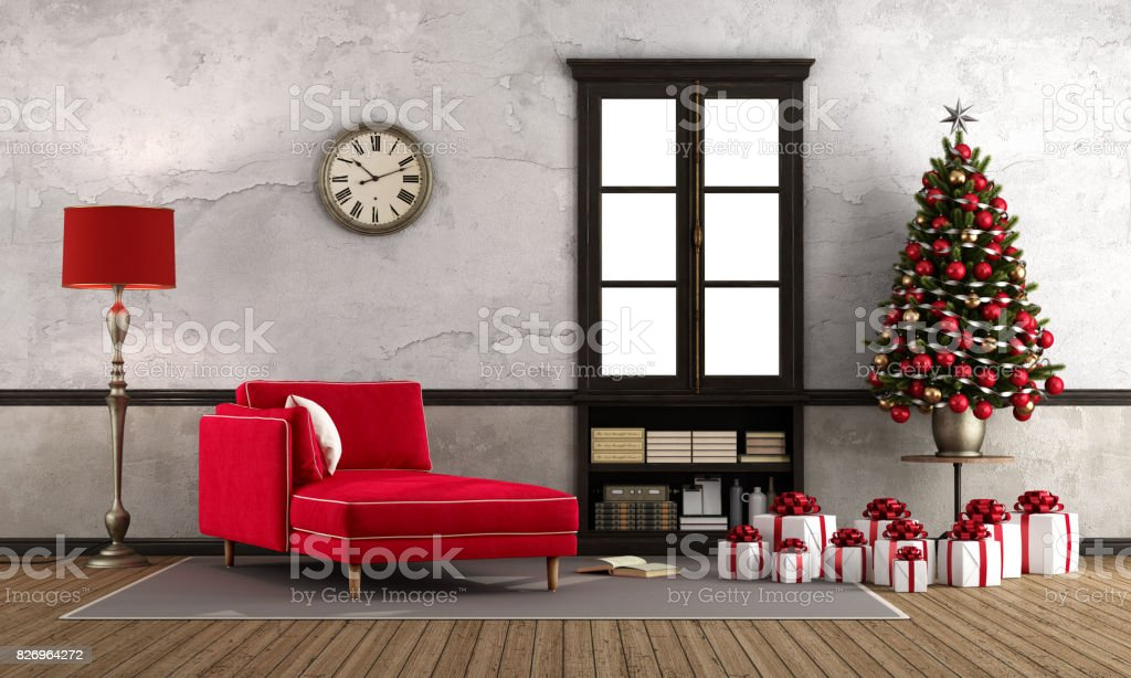Waiting christmas in retro room stock photo