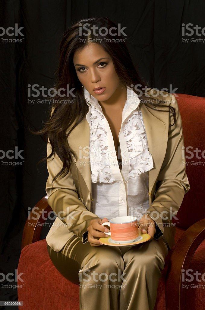 Waiting drinking coffee royalty-free stock photo
