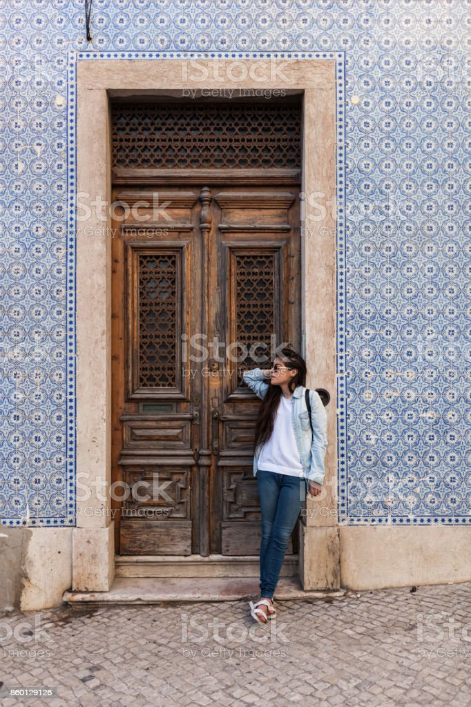 Waiting for a Friend in Lisbon Old Town stock photo