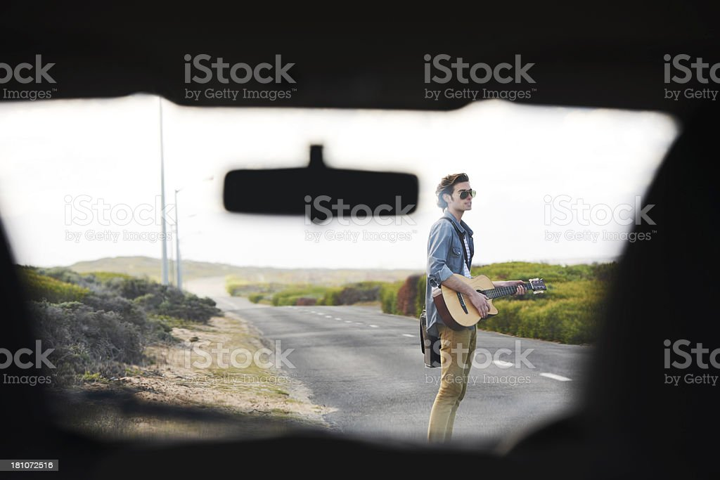 Waiting for a lift to the gig royalty-free stock photo