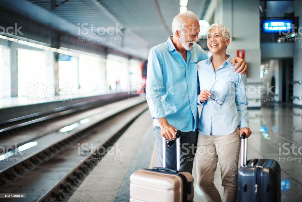 Waiting for a train. stock photo