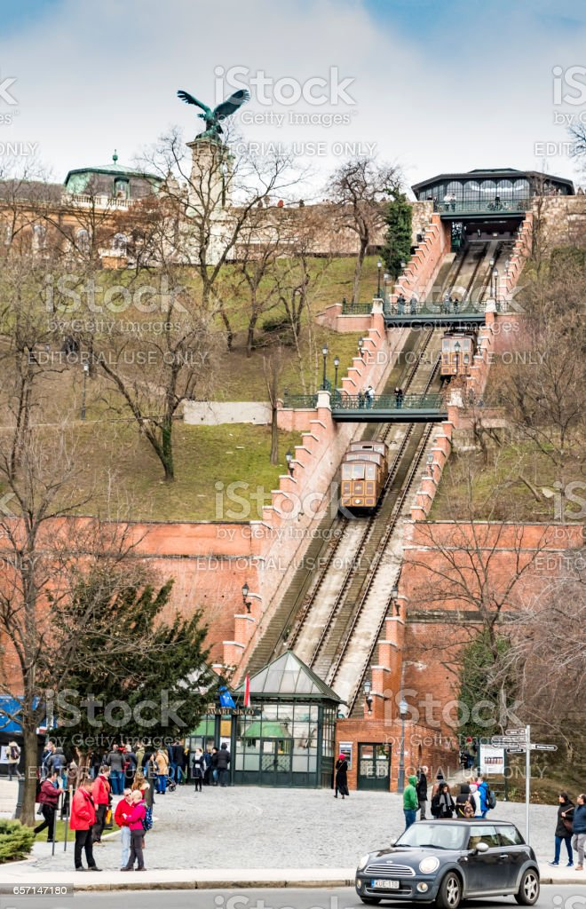Waiting for Buda Castle Funicular in Budapest stock photo