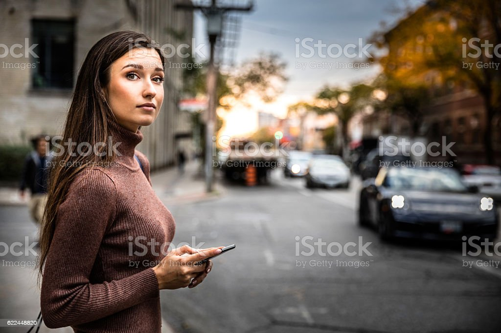 Waiting for carpool in city street stock photo