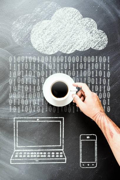 waiting for data syncronization, coffee and cloud computing - schwarzer kaffee net stock-fotos und bilder