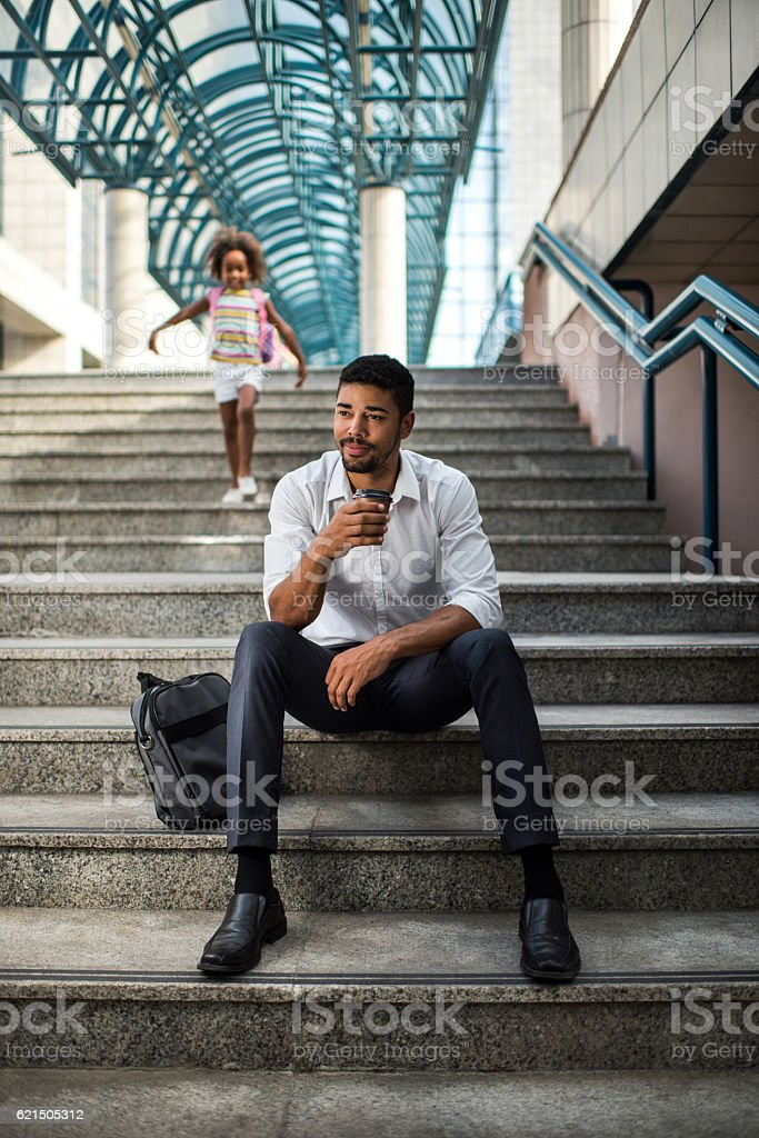 Waiting for daughter to come from school! foto stock royalty-free