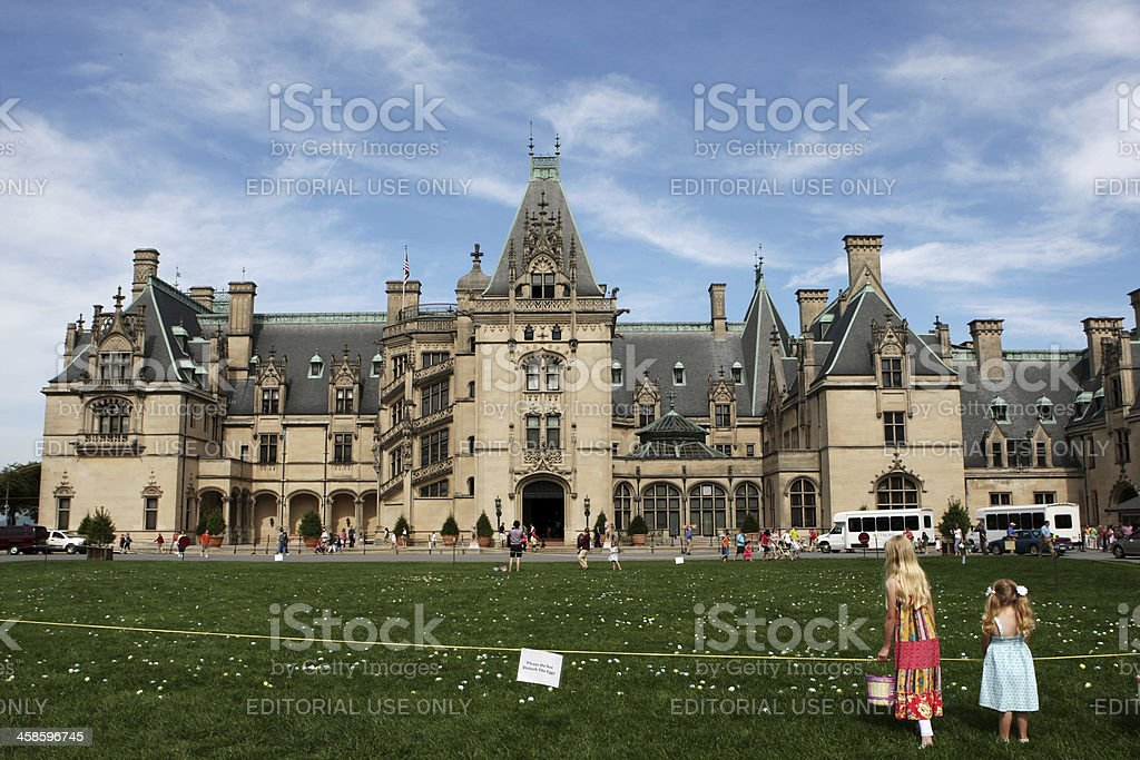 Waiting for Easter Egg Hunt at Biltmore Estate, USA stock photo