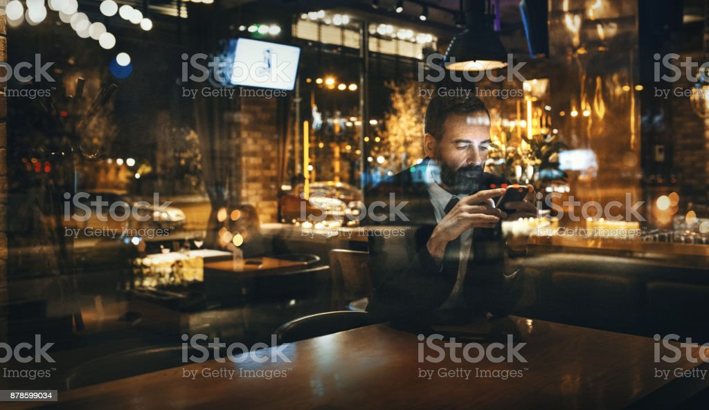 Waiting for friends to come. stock photo