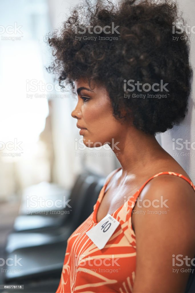 Waiting for her chance stock photo