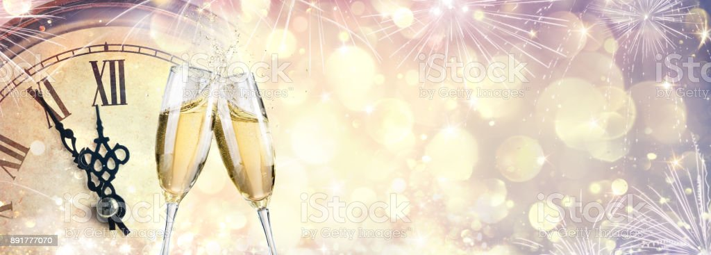 Waiting For Midnight - New Year Celebration With Champagne stock photo