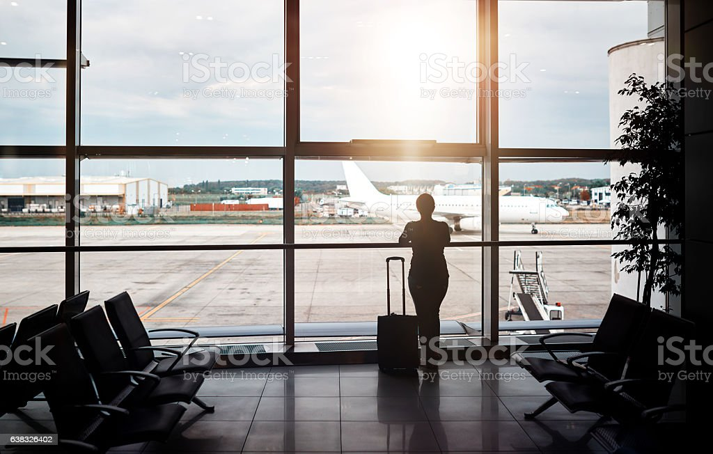 waiting for my plane stock photo