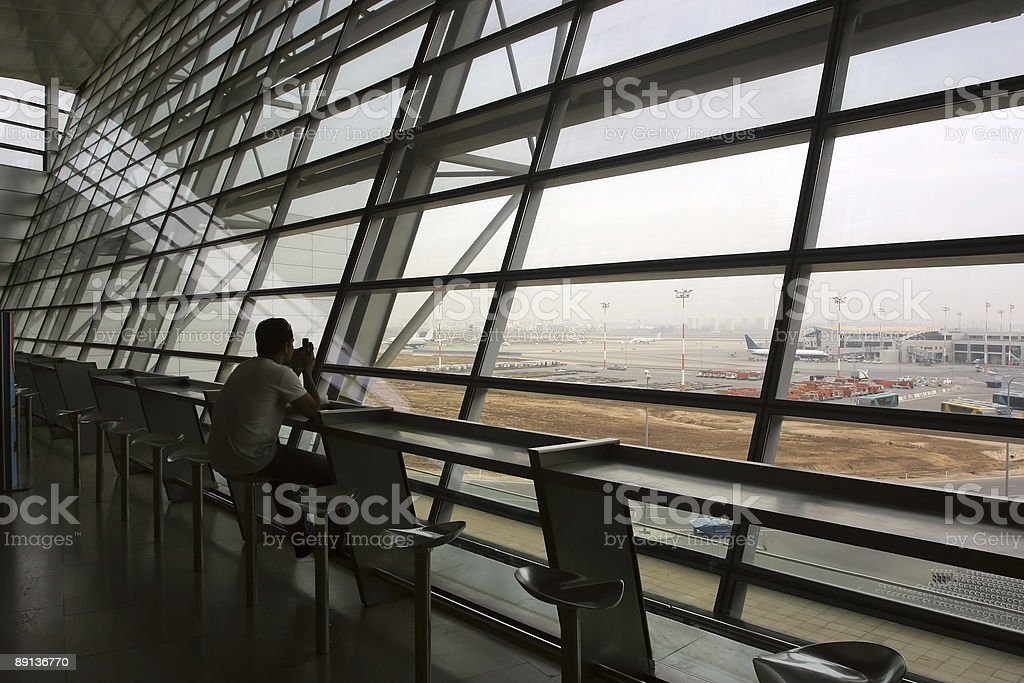 Waiting for plane royalty-free stock photo