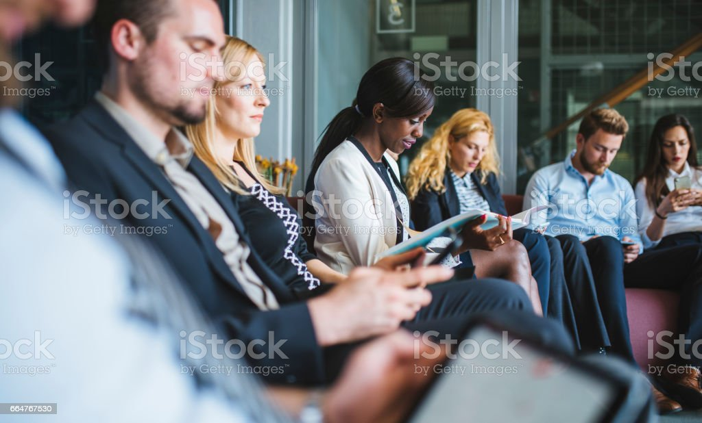 Waiting for results of job interview stock photo