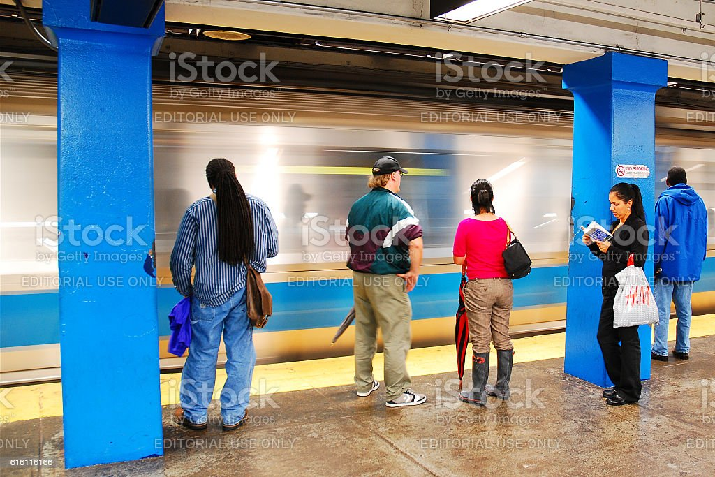 Waiting for the Blue Line stock photo