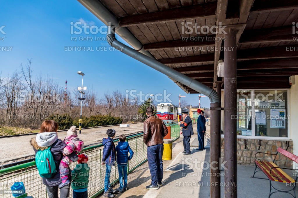 Waiting for the Children's Railway in Budapest stock photo