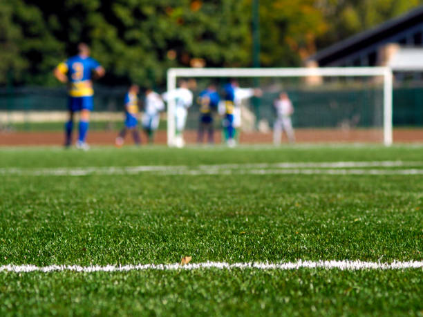waiting for the corner kick - soccer competition stock photos and pictures