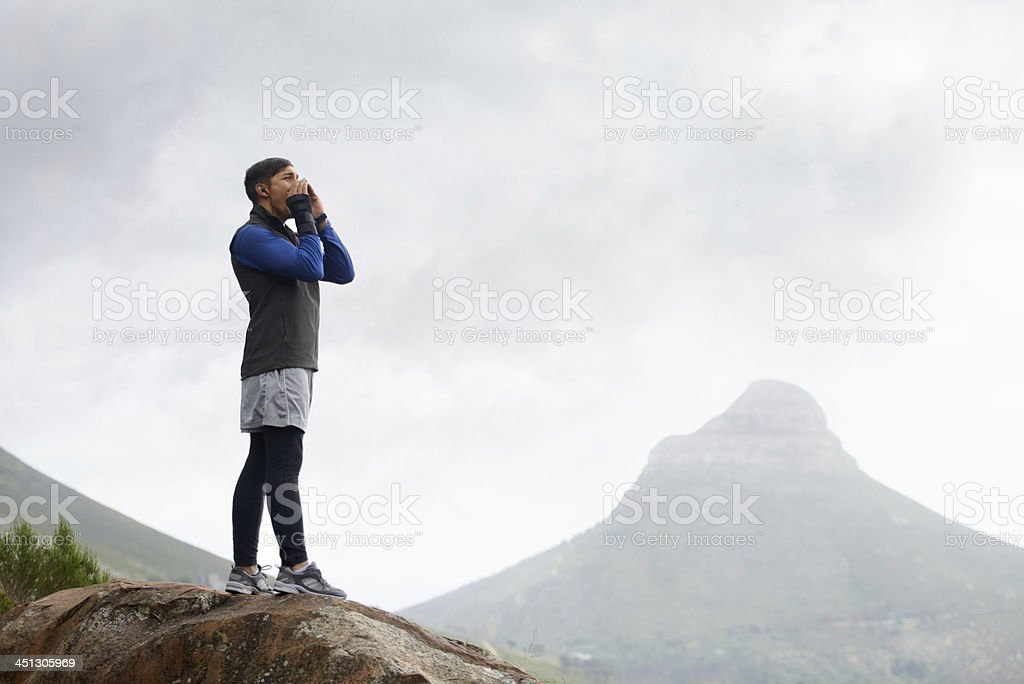 Waiting for the echo... stock photo