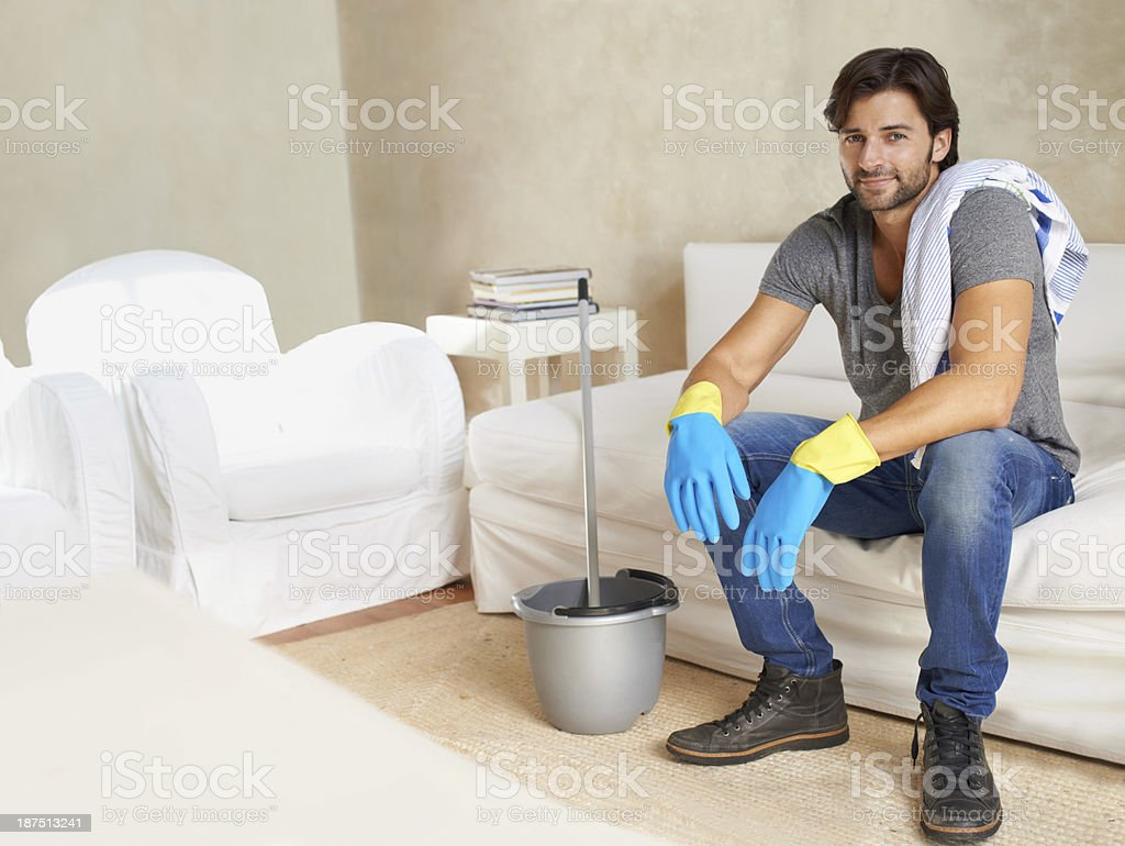 Waiting for the floor to dry royalty-free stock photo