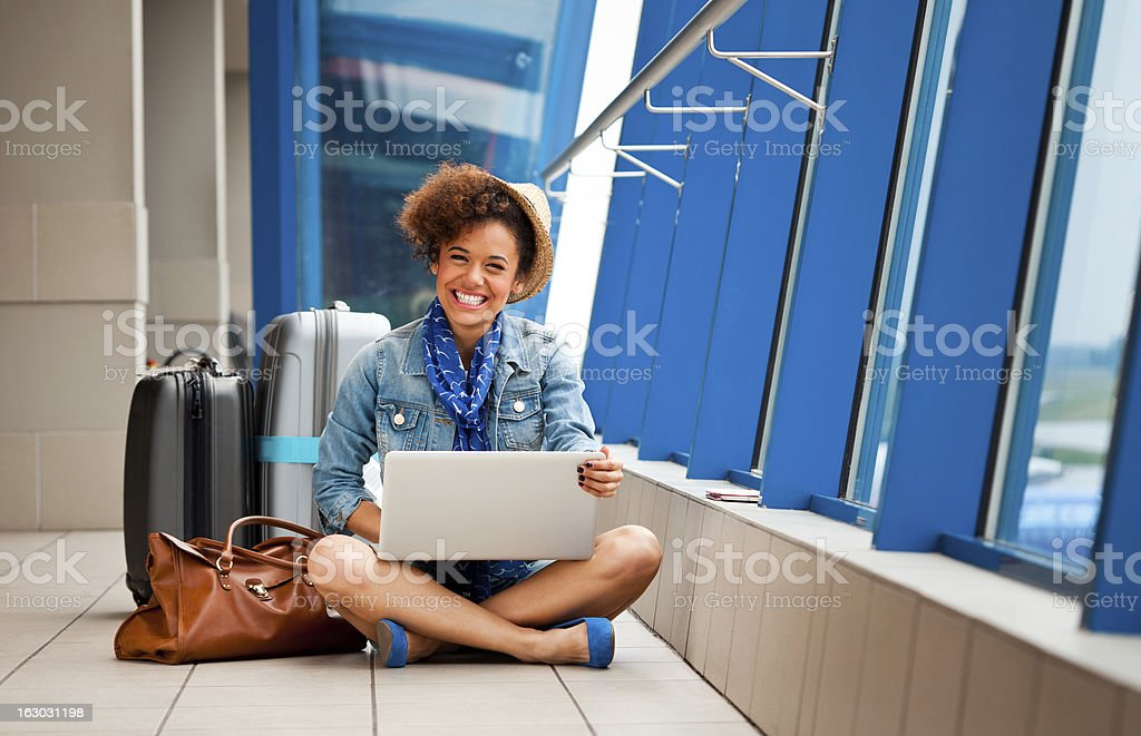 Waiting for the plane royalty-free stock photo