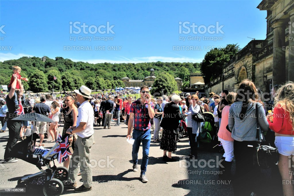 Waiting for the Queen to visit, Chatsworth, Derbyshire, UK. stock photo