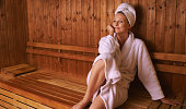 Shot of a mature woman in a sauna