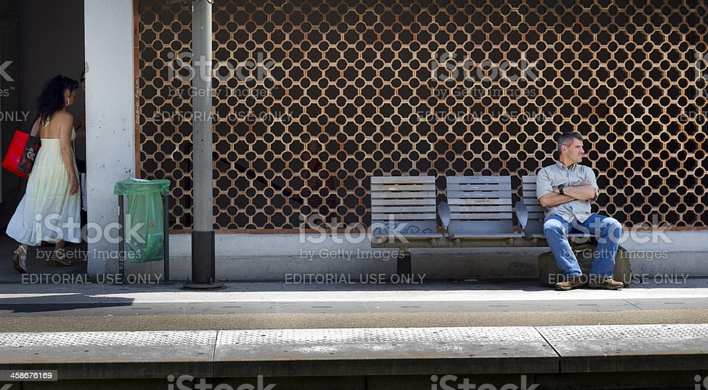Waiting for the train in Antibes, France royalty-free stock photo