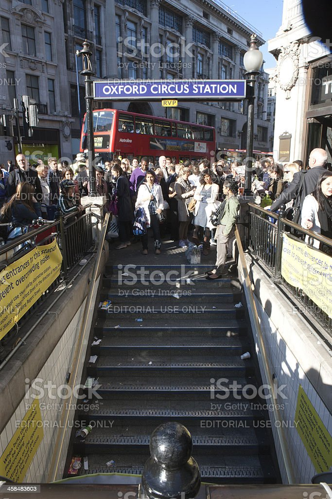 Waiting for the underground station to open stock photo